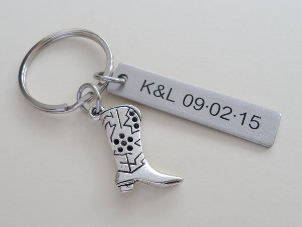 Cowboy Boot Charm Keychain with Custom Engraved Stainless Steel Tag
