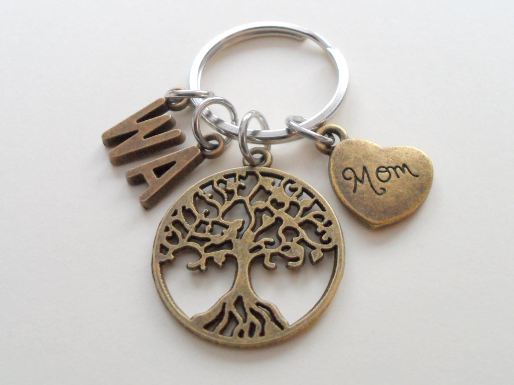 Bronze Mom Tree Keychain for Mom -With Letter Charms, Mother's Day Gift