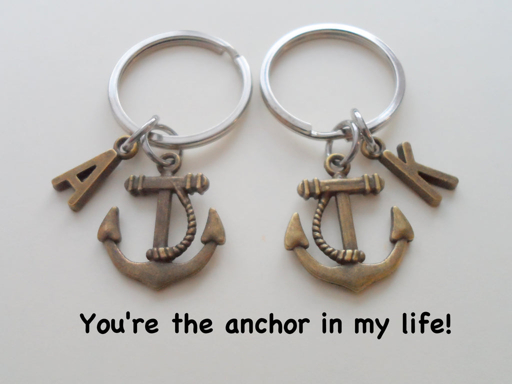 Bronze Anchor Keychain Set - You're the anchor in my life; Best Friend or Couples Keychain Set