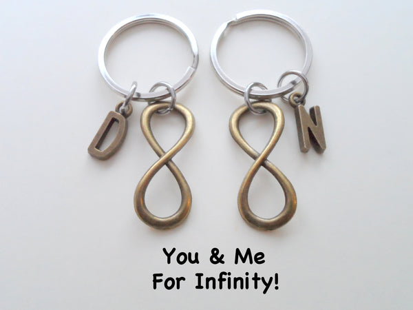 Personalized Double Bronze Infinity Charm Keychains with Letter Charms; Couple Keychains, Best Friends Keychains