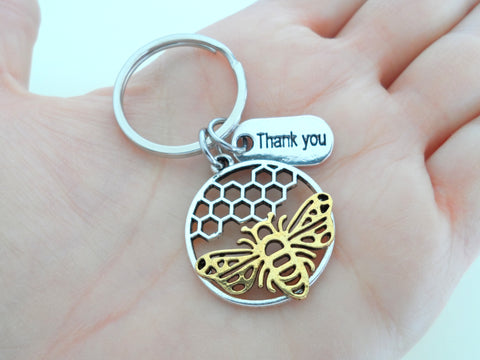 Employee Appreciation Gift Keychain, Bee & Beehive Charm Keychain, Employee Gift, Coworker Gift Work Team Gift, Thank you Gift, Teacher Gift