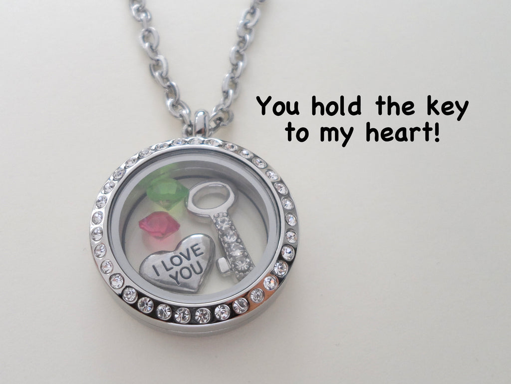 "Personalized ""You Hold the Key to My Heart"" Floating Memory Locket Necklace w/ Key & I Love You Heart Charms & Birthstones - by Jewelry Everyday"