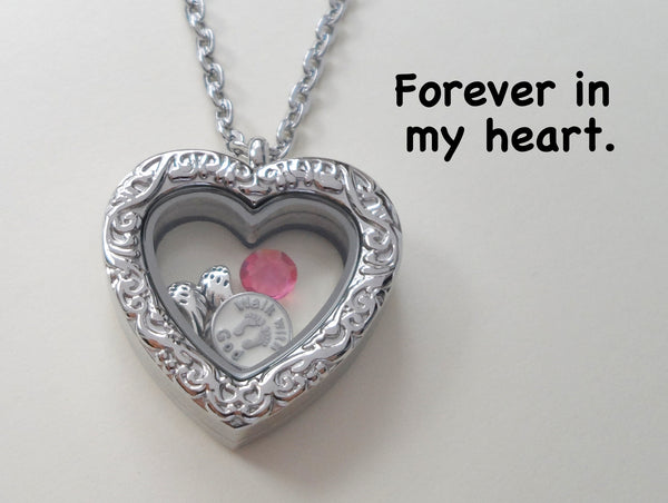 Personalized Forever in My Heart Baby Stainless Steel Floating Memory Heart Locket Necklace, Infant Loss Memorial Necklace
