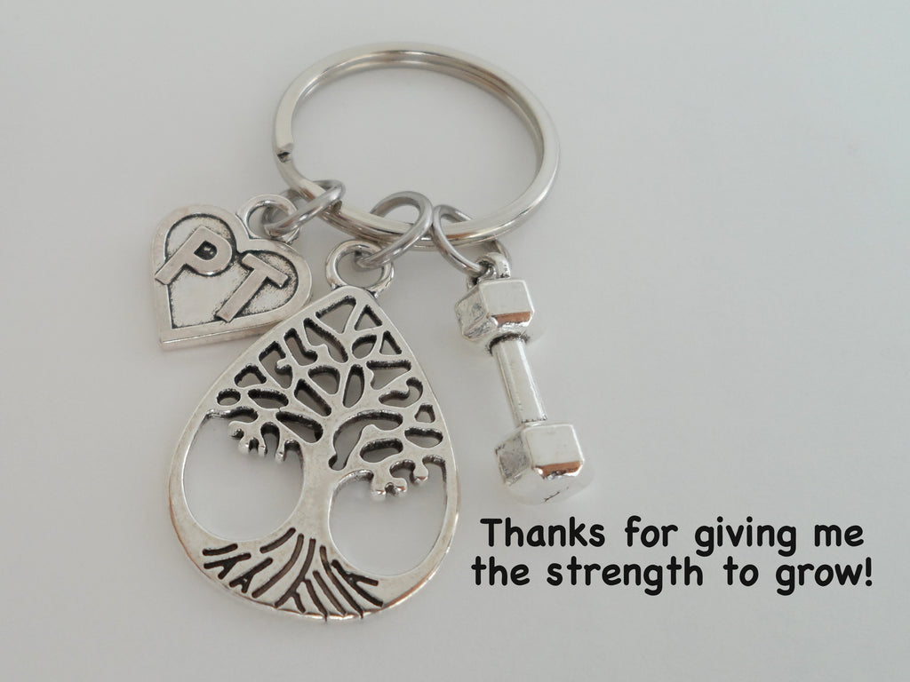 Physical Therapist Appreciation Gift Keychain for PT, Thank You Gift for Physical Therapist Staff, Weight & Teardrop Tree Charm
