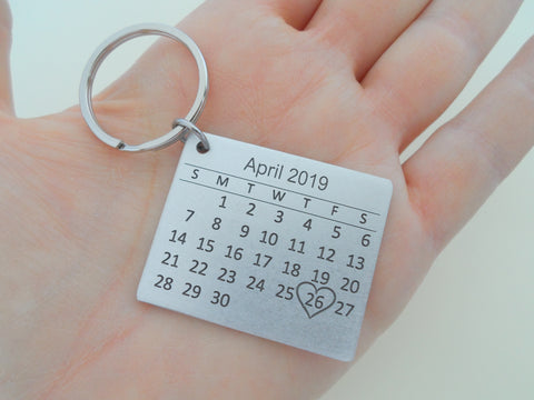 Personalized 10 Year Anniversary Gift • Aluminum Calendar Keychain Engraved with Heart; Custom Engraved Backside Options