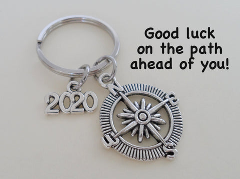 Good Luck on the Path Ahead of You Open Metal Compass Keychain with Year Charm, Graduation Gift Keychain