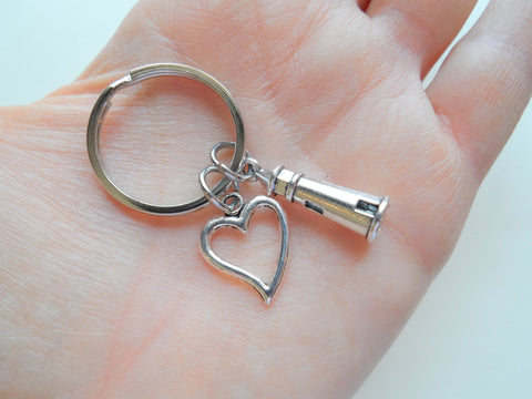 Lighthouse Keychain with Open Heart Charm - Lost Without You; Couples Keychain
