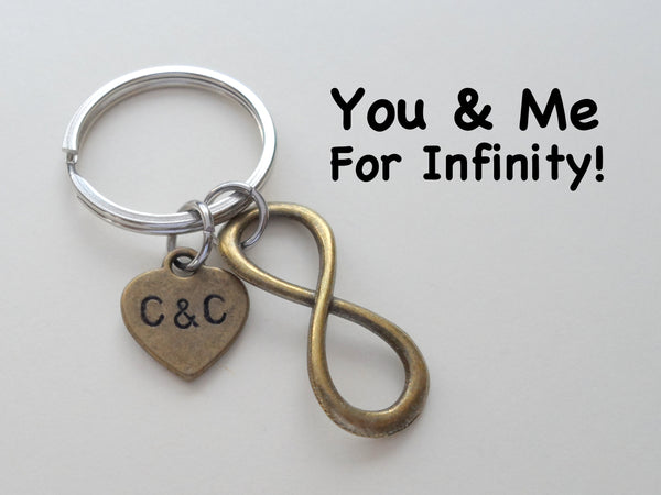 Personalized Bronze Infinity Symbol Keychain - You and Me for Infinity; Couples Keychain