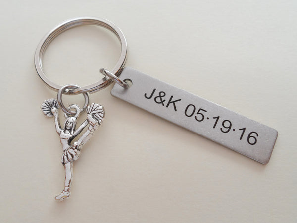 Personalized Cheerleader Keychain and Steel Tag Custom Engraved, Gift for Couples, or Instructors