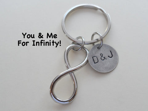 Personalized Infinity Symbol Keychain - You And Me For Infinity; Couples Keychain