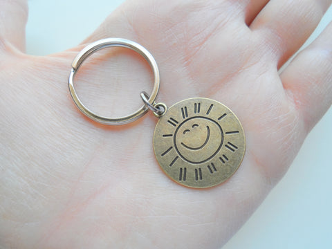 Bronze You Are My Sunshine Keychain, with Saying on Backside