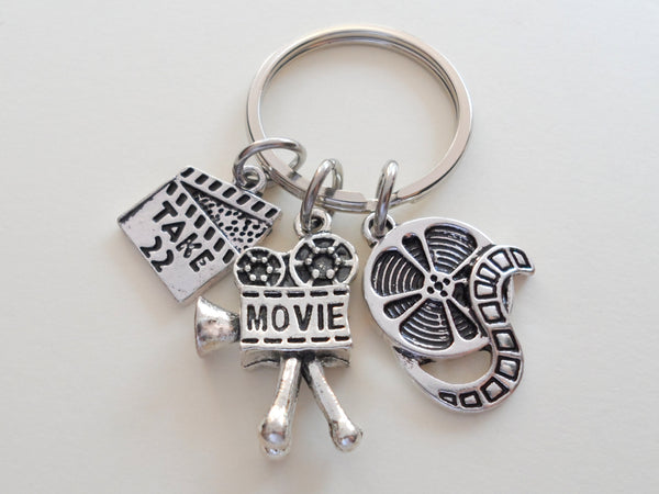 Movie & Film Keychain, Movie Reel Charm, Videographer Keychain, Producer Gift Keychain, Actors Keychain, Graduate Gift, Director Keychain