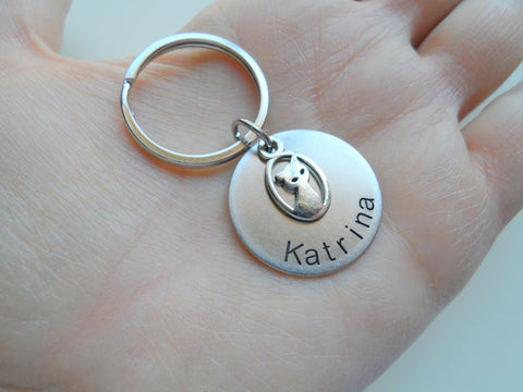 Personalized Cat Memorial Keychain Engraved with Name on Disc, Pet Memorial Keychain | JE