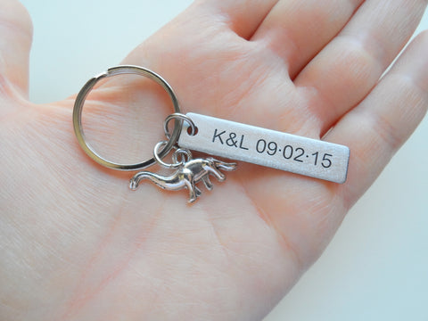 Personalized Dinosaur Keychain with Steel Tag Custom Engraved, Gift for Paleontologist