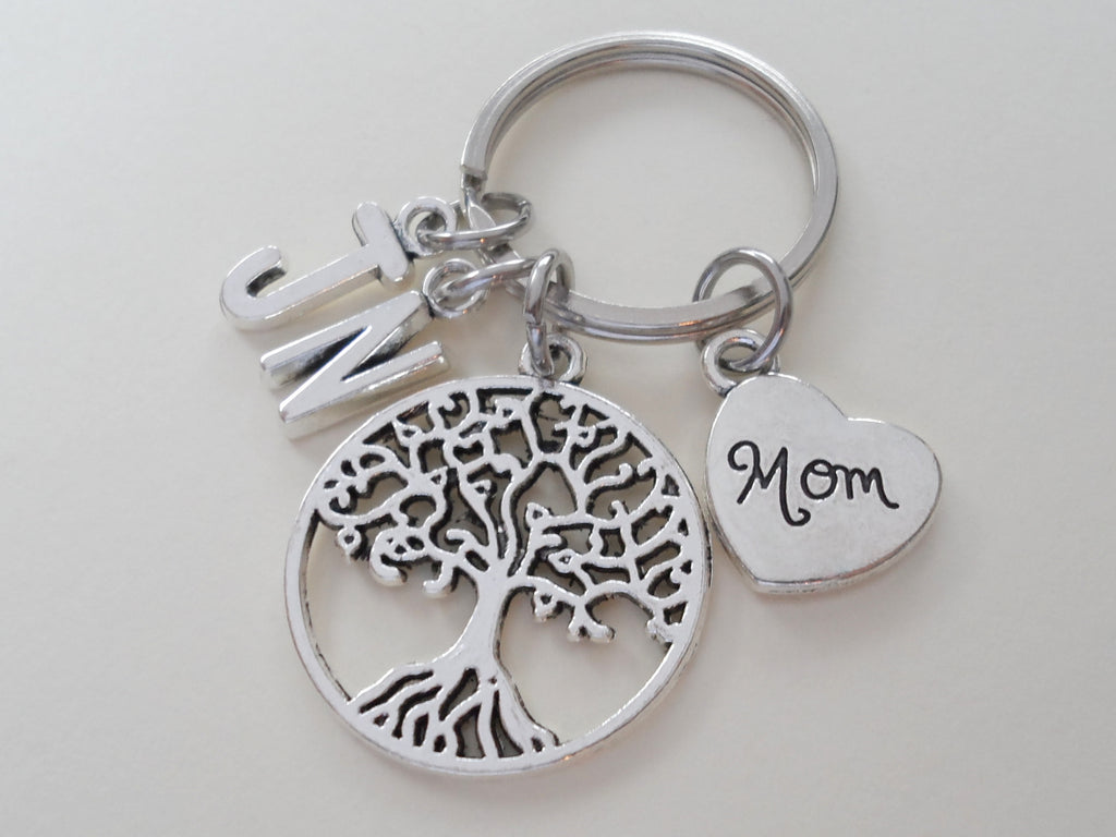 Mom Filigree Tree Keychain for Mom, Mother's Day Gift, Custom Letter Charm Options