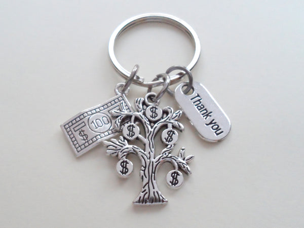 Bank Employee Appreciation Gift Keychain, Money Tree Charm Keychain, Credit Union Staff Gift, Coworker Gift, Work Team Gift, Thank you Gift