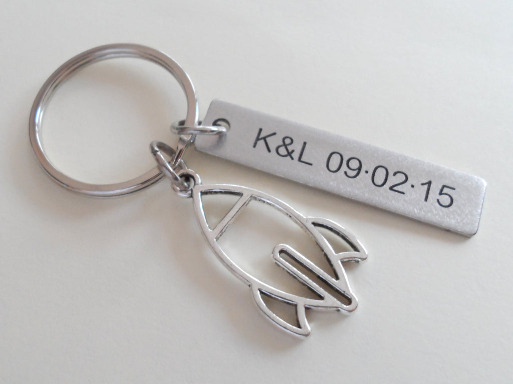 Personalized Spaceship Rocket Charm Keychain and Steel Tag Custom Engraved, Aerospace Engineer Gift, Astronautical Keychain