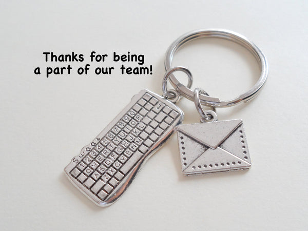 Secretary Gift Keychain, Office Staff Gift, Receptionist Gift, Work Team Thank you Gift, Computer Keyboard & Envelope Charm Keychain