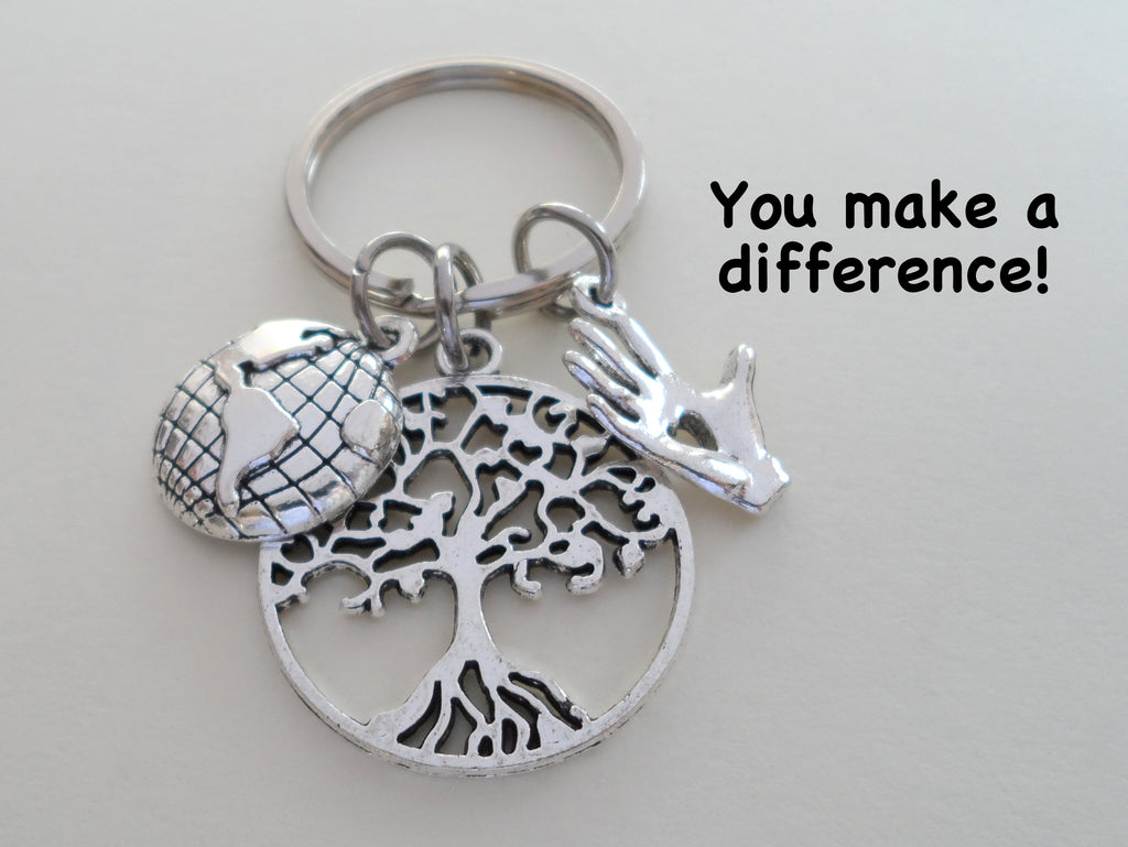 "Community Volunteer Appreciation Gifts • World Globe, Tree, and Hand Charm Keychain by JewelryEveryday w/ ""You Make a Difference!"" Card"
