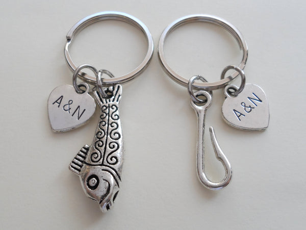 Toggle Fish and Hook Keychain Set Custom Engraved - A Great Catch, I'm Hooked on You; Couples Keychain Set