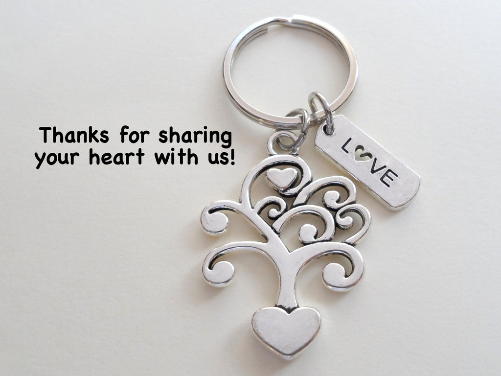 Tree With Hearts and Love Charm Keychain, Religious Teacher Gift, Home Aid Gift, Thank you Gift, For Friend, Caretaker Gift Keychain