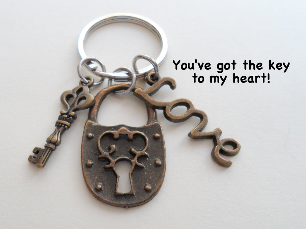 Bronze Key & Lock & Love Charm Keychain - You've Got the Key to My Heart