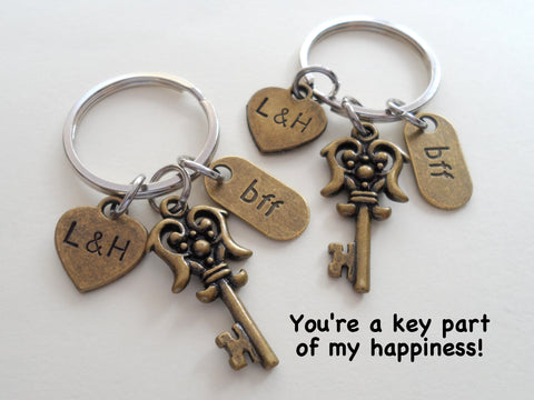 2 Bronze BFF Key Charm Keychains - You've a Key Part of My Happiness