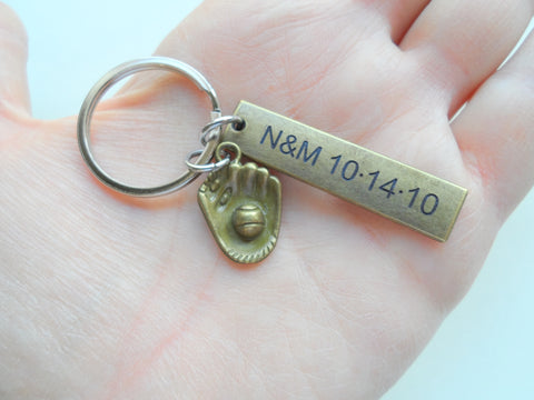 Personalized Keychain with Bronze Engraved Tag and Baseball Mitt Charm; Couples Keychain, Customized