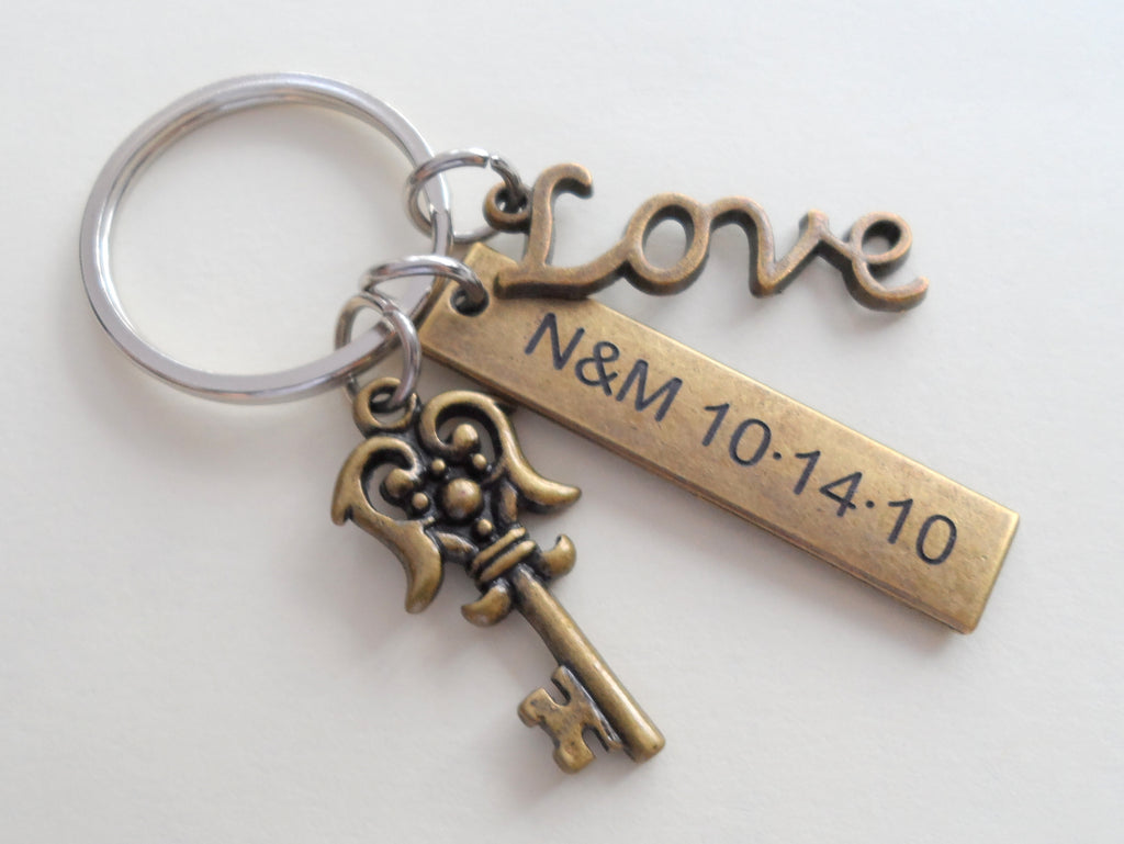 Bronze Key and Love Charm Keychain with Custom Engraved Tag - You've Got The Key To My Heart; Couples Keychain