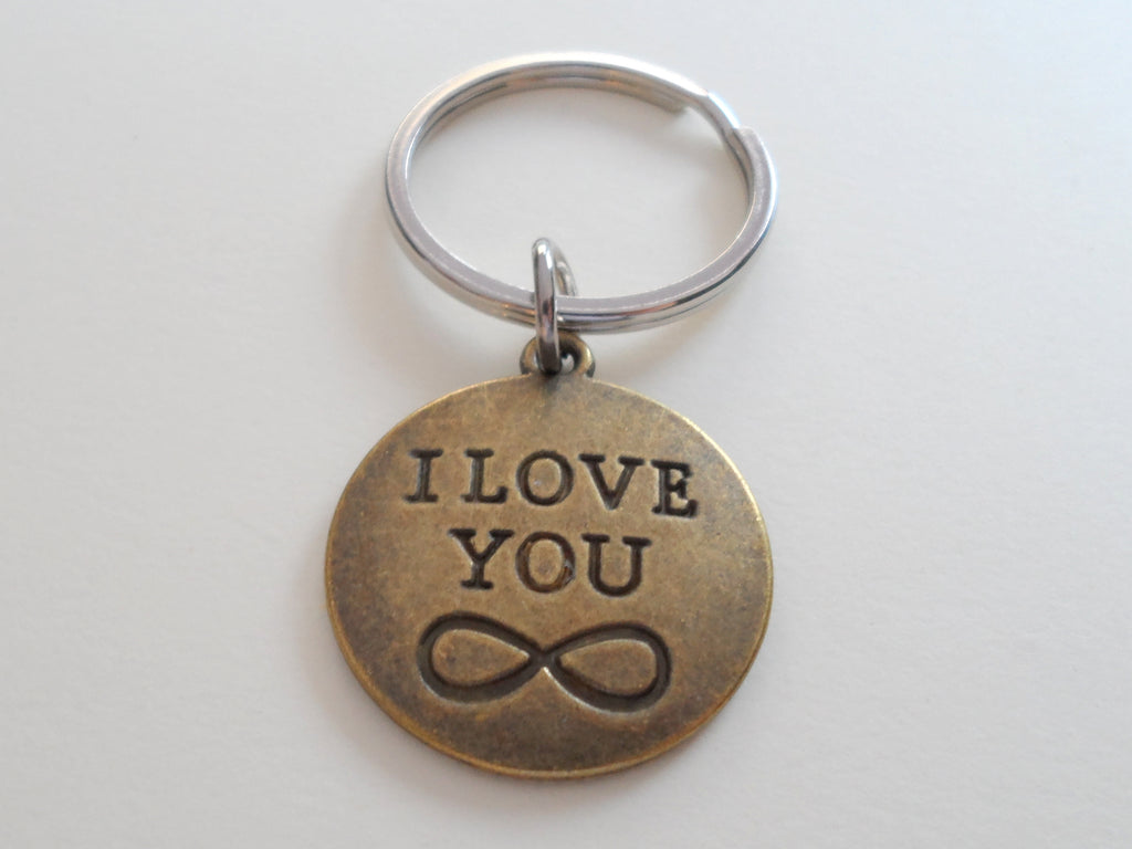 Bronze Disc Keychain with I Love You Infinity Symbol Engraving; Couples Keychain