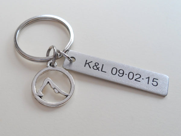 Personalized Yoga Keychain and Steel Tag Custom Engraved, Gift for Couples, or Instructors
