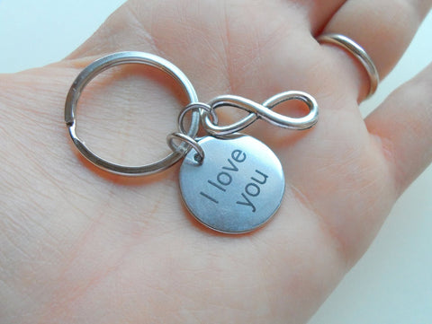 "Saying Disc with Infinity Charm, ""I Love You"" Engraved Saying Stainless Steel Disc Keychain"