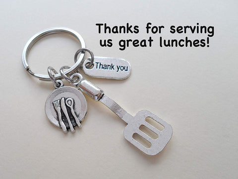 School Lunch Server Spatula Keychain, Appreciation Gift, Gift for School Lunch Lady, School Lunch Staff, Lunch Aid Gift, Thank You Gift