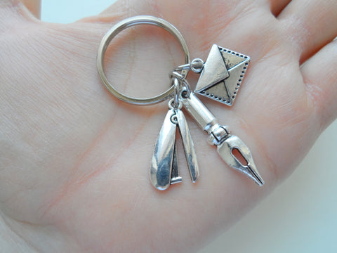 Secretary, Office Staff, & Receptionist Gift Keychain, Stapler, Pen, & Envelope Charm Keychain