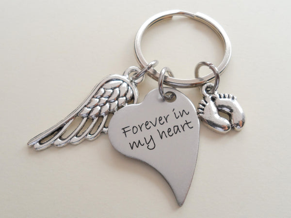 Side Hung Heart Shaped Forever in My Heart Keychain with Wing and Baby Feet Charm, Baby Loss Memorial Gift