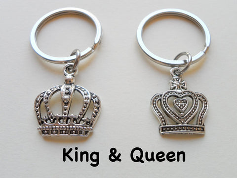 Silver Tone King and Queen Crown Keychain Set - King & Queen; Couples Keychain Set