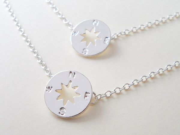 Small Compass Charm Necklace Set, 2 Necklaces, 18 Inch Chain