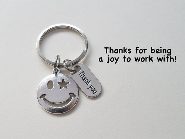 "Employee Appreciation Gifts • ""Thank You"" Tag & Silver Smiley Face Keychain by JewelryEveryday w/ ""Thanks for being a joy to work with!"" Card"