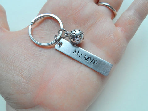 "Soccer Ball Keychian and Steel Tag Engraved with ""My MVP"", Soccer Keychain Gift"