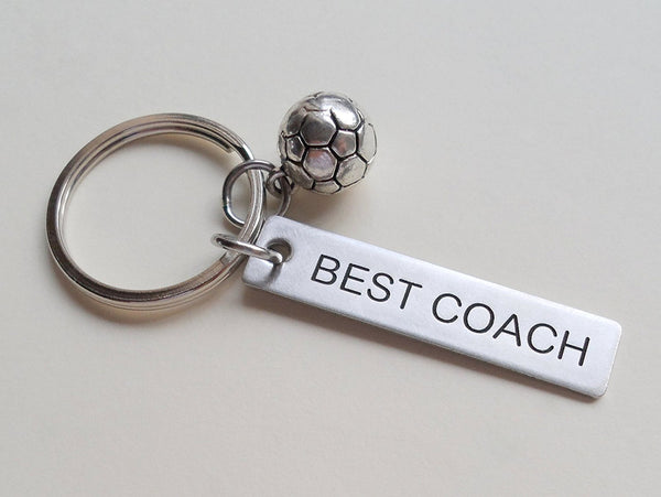 "Soccer Coach Appreciation Gift • Engraved ""Best Coach"" Keychain 