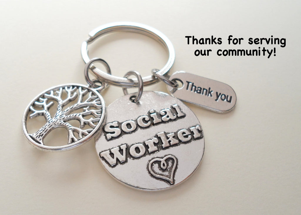 "Employee Appreciation Gifts • ""Thank You"" Tag, Tree & Social Worker Disc Keychain by JewelryEveryday"