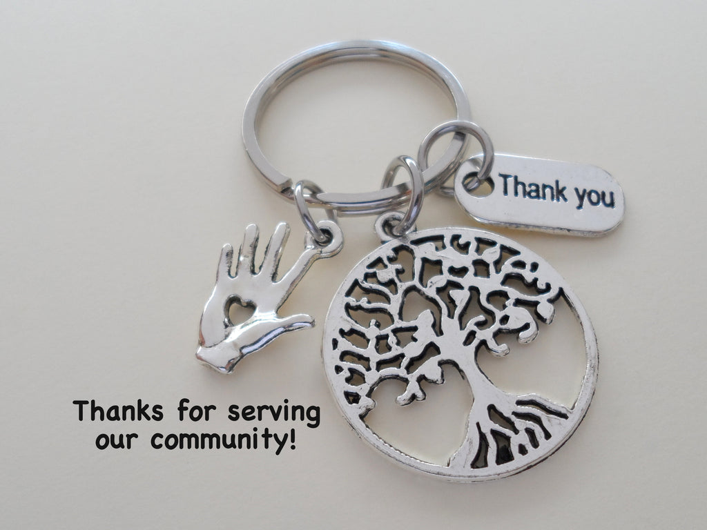 "Employee Appreciation Gifts • Social Worker/ Community Advocate Keychain, Tree, Hand, ""Thank You"" Tag w/ ""Thanks for serving our community"" Card by JewelryEveryday"