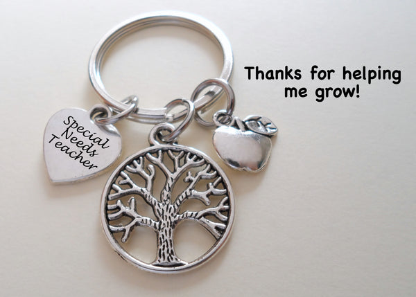 "Teacher Appreciation Gifts • ""Special Needs Teacher"" Disk, Tree & Apple Charms Keychain by JewelryEveryday w/ ""Thanks for helping me grow!"" Card"