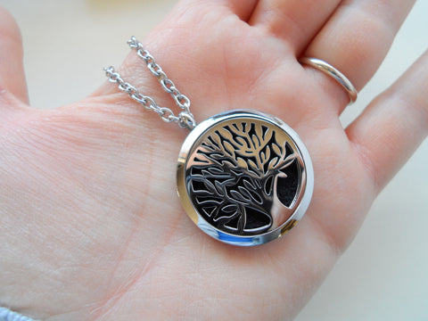 Oil Diffuser Locket Necklace w/ Large Tree Design - by Jewelry Everyday
