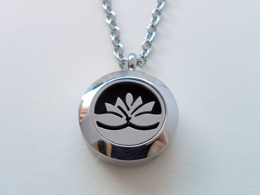 Oil Diffuser Locket Necklace w/ Lotus Flower Design - by Jewelry Everyday