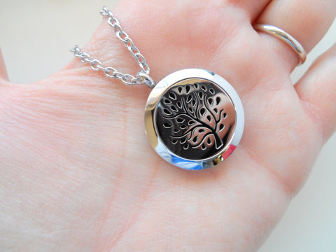 Oil Diffuser Locket Necklace w/ Tree Design - by Jewelry Everyday