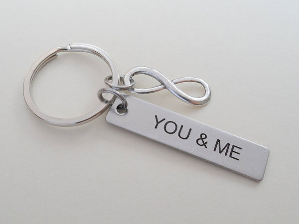 "Stainless Steel Tag Keychain Engraved with ""You & Me"" with Infinity Charm; 11 Year Anniversary Couples Keychain"