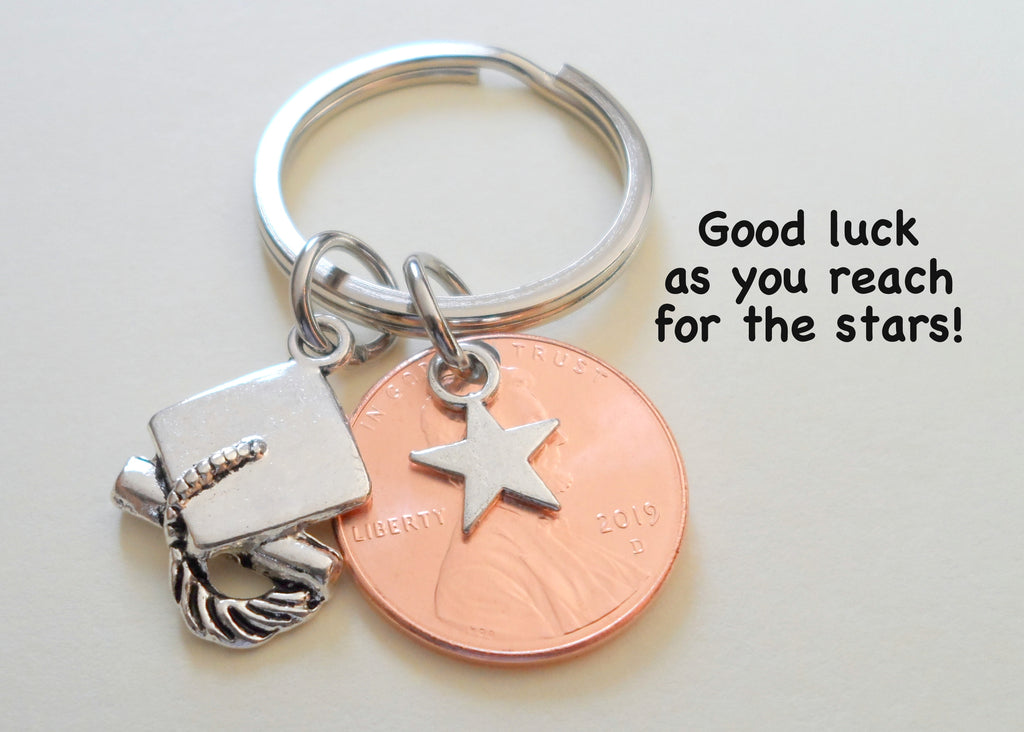 Star Charm Layered Over 2019 Penny Keychain - Good Luck As You Reach for the Stars, Graduate Graduation Gift