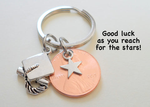 Star Charm Layered Over 2021 Penny Keychain - Good Luck As You Reach for the Stars, Graduate Graduation Gift