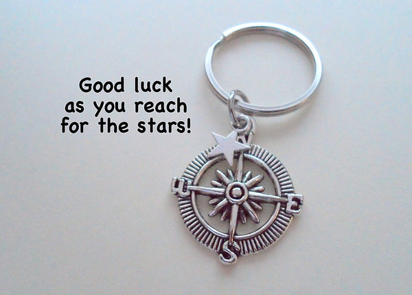 Star & Compass Keychain - Good Luck as You Reach for the Stars, Graduation Gift